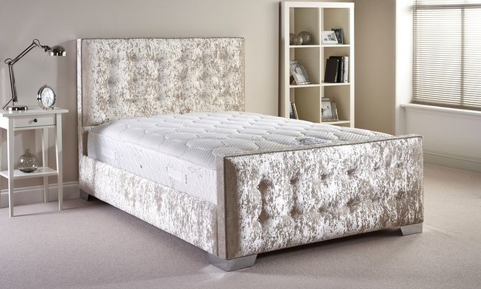 hand crafted fabric bed frame groupon goods