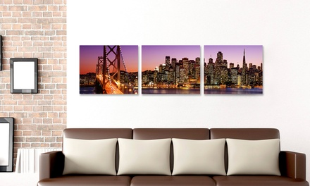 3-Piece Stretched-Canvas Wall Art of City Skylines at Night