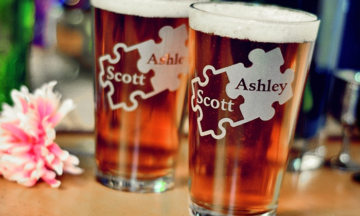 Glass with a Twist: Two Custom Engraved Pint, Wine, or Rocks Glasses from Glass with a Twist (55% Off)