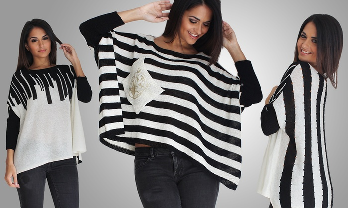 OhConcept Geometric Batwing Sweater Shirts: OhConcept Geometric Batwing Sweater Shirt in Horizontal or Vertical Pattern. Free Returns.