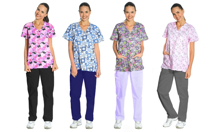 Women's 2-Piece Printed Scrubs Set with V-Neck Top and Pants in Regular and Plus Sizes: Women's 2-Piece Printed Scrubs Set with V-Neck Top and Pants in Regular and Plus Sizes