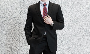 Fashion Menswear: Men's Suit & ExpressAlterationswith Complimentary Tie & Handkerchiefat Fashion Menswear (Up to56% Off)