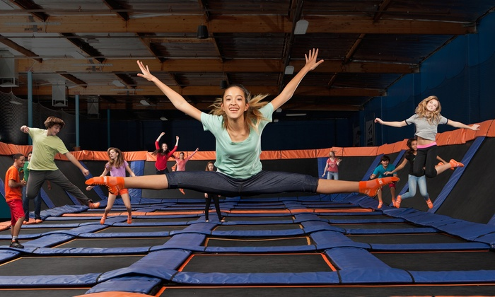 Sky Zone Plymouth and Oakdale - Multiple Locations: $15 for One Hour of Trampoline Time and SkySocks for 2 at Sky Zone ($28 Value), Valid for Walk-Ins Only
