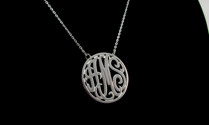 NameJewelrySpot: $34.99 for a Circle Frame Monogram Necklace from NameJewelrySpot ($140 Value)