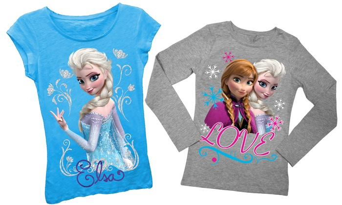 Disney's Frozen Girl's T-Shirts: Disney's Frozen Girl's T-Shirts (Size 7-16). Short- and Long-Sleeved Styles Available from $13.99–$14.99.