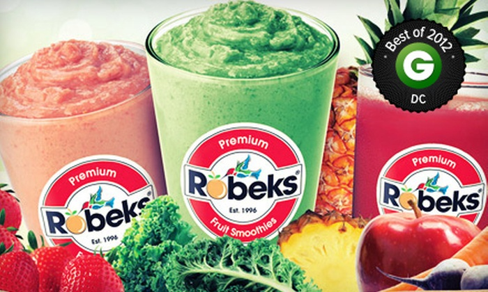 Robeks Fruit Smoothies & Healthy Eats - Multiple Locations: $4 for $8 Worth of Smoothies, Fresh Juice, and Healthful Food Items at Robeks Fruit Smoothies & Healthy Eats