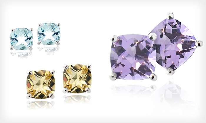 Cushion-Cut Gemstone Earrings: Gemstone Earrings (Up to 82% Off). 15 Styles Available. Free Shipping on Orders of $15 or More and Free Returns.