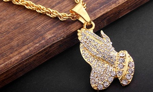 "Men's 18K Gold Plated Prayer Hands 30"" Necklace"