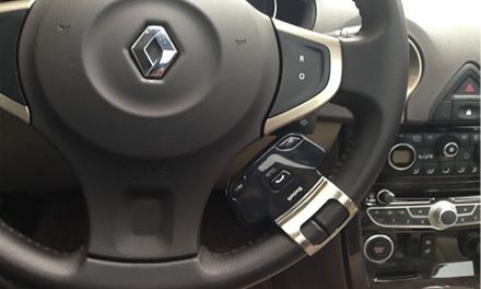 Bluetooth-Freisprechanlage für das Autolenkrad mit verstellbarer Metallklammer und KFZ-Ladegerät inkl. Versand
