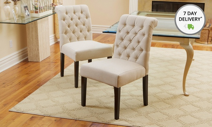 Elmerson Tufted Ivory Linen Dining Chairs: Set of Two Elmerson Tufted Ivory Linen Dining Chairs