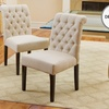 Set of Two Elmerson Tufted Ivory Linen Dining Chairs