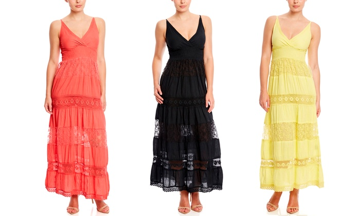JUST LOVE Sleeveless Crochet V-Neck Maxi Dress Day Dresses from $19.99 | Brought to You by ideel