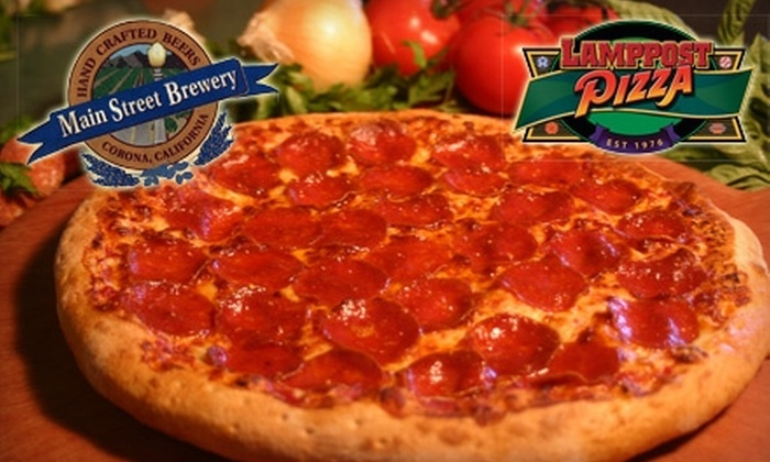 Lamppost Pizza and Main Street Brewery - Corona: $10 for $20 Worth of Pizza and Handcrafted Ales at Lamppost Pizza and Main Street Brewery