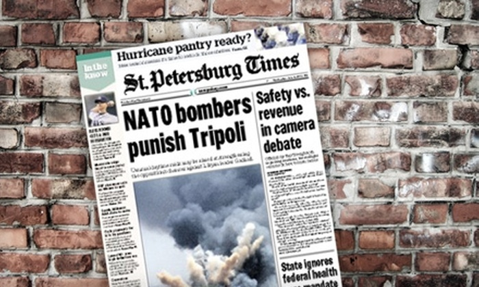 """St. Petersburg Times - Downtown St. Petersburg: $10 for One Year of Sunday Home Delivery of the """"St. Petersburg Times"""" ($65 Value)"""