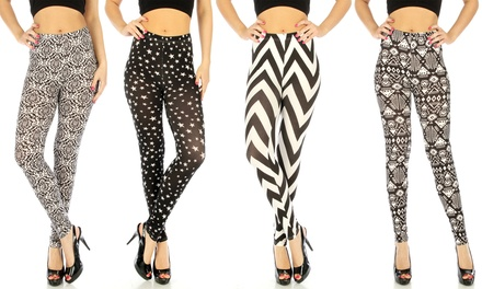 4-Pack of Women's Black-and-White Geometric-Print Leggings