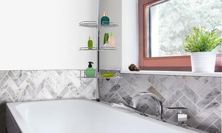 Étagère de douche en acier inoxydable, 4 tablettes, 2 crochets et des accessoires spéciaux  (SaintEtienne)