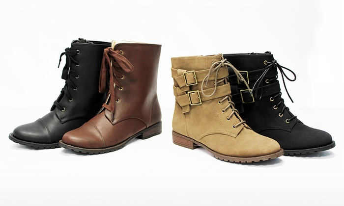 Michael Antonio Women's Mattson and Maddy Combat Boots: Michael Antonio Women's Mattson Combat Boots in Black or Dark Taupe