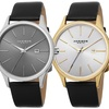 Akribos Men's Watches with Leather Straps and Date Counters