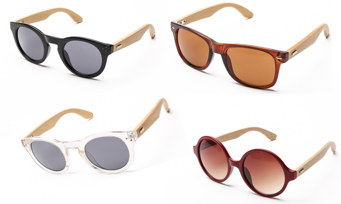 Sunglasses with Faux Wood Arms