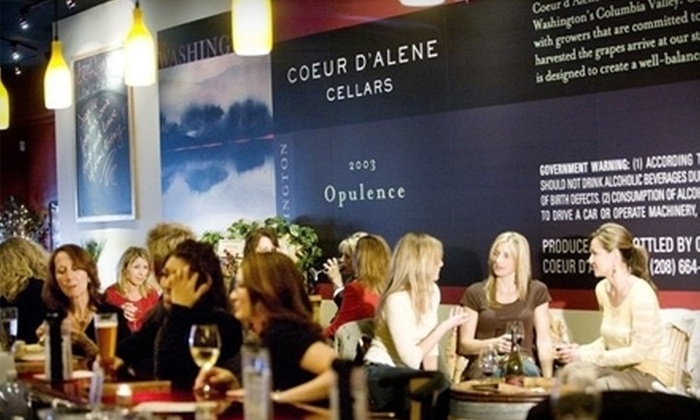 Coeur d'Alene Cellars - Multiple Locations: Wine and Light Fare or Two Glasses of Wine and a Small Plate at Barrel Room No. 6