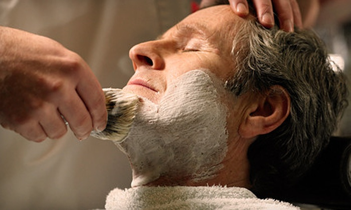 ê Shave - Midtown Center: $69 for a Shaving Package with a Signature Shave, Haircut, Luxury Razor, and Shaving Cream at ê Shave ($153.50 Value)