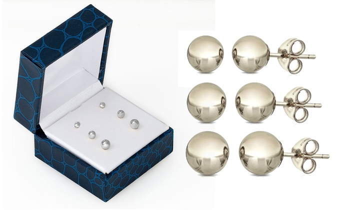 14k Solid White Gold Ball Stud Earrings 3 Pairs