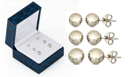 14K Solid White Gold Ball Stud Earrings (3 Pairs)