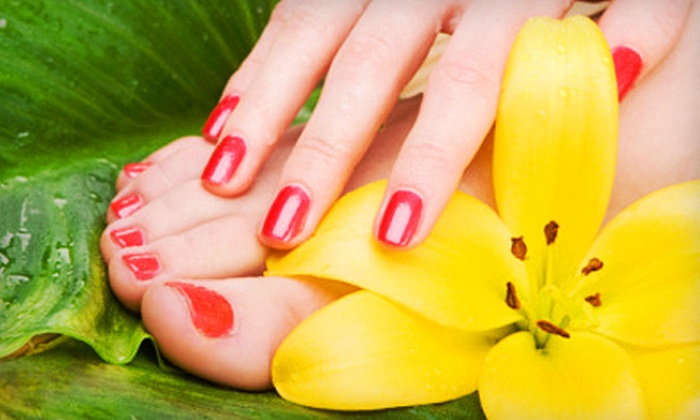 L'amour Nails - Constellation Pointe: Mani-Pedi Package at L'amour Nails in League City (Up to 58% Off). Choose from Two Options.