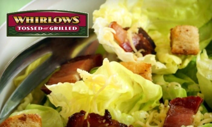 Whirlow's Tossed and Grilled - Multiple Locations: $6 for $12 Worth of Barbecue, Sandwiches, and More at Whirlows Tossed and Grilled. Choose from Two Locations