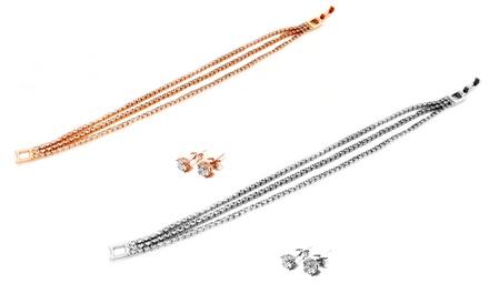 Conjunto de pulseira e brincos Pave Duo disponível em duas cores por 9,99€