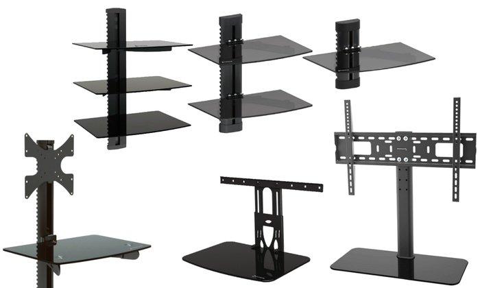 GForce Wall Mount Component Shelves with TV Mount Combo Options