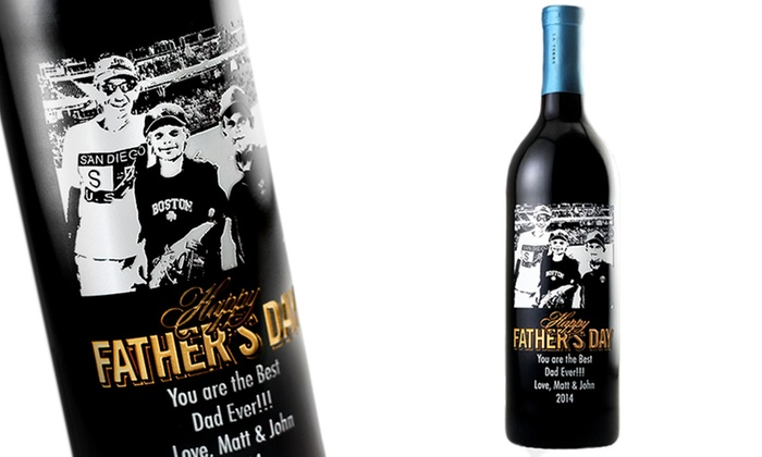 Etching Expressions: $69 for a Custom-Etched Father's Day Wine Bottle with Shipping from Etching Expressions ($169.95 Value)