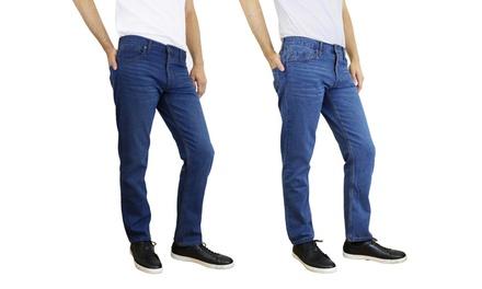 Men's Slim-Straight Jeans in Dark and Medium Wash (2-Pack)