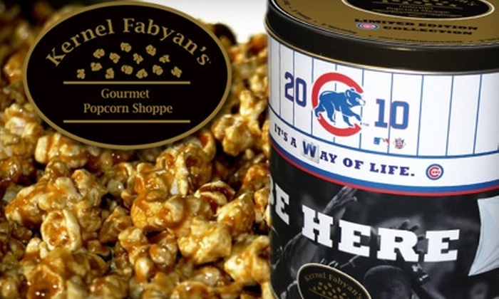 Kernel Fabyan's - Multiple Locations: $12 for a Cubs Tin of Gourmet Popcorn from Kernel Fabyan's (Up to $26 Value)