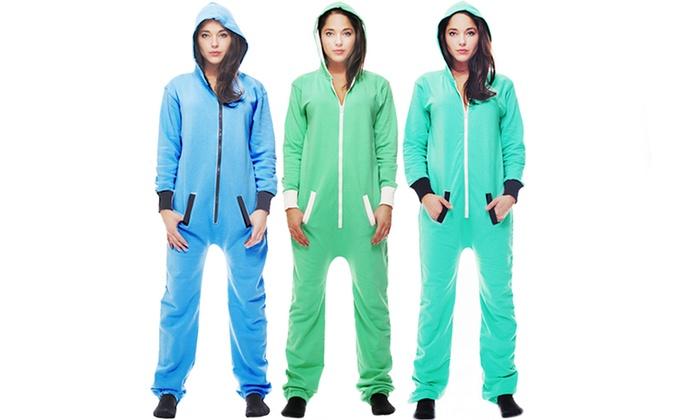 Women s 1-Piece Cozy Hooded Fleece Pajama Rompers 08d6fdaec