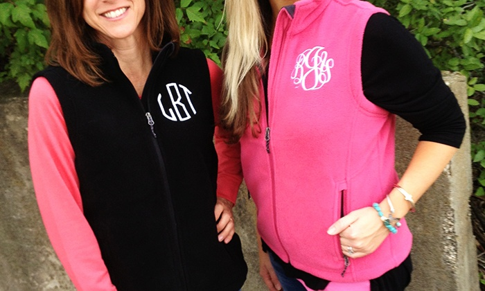 Embellish Accessories and Gifts: One or Two Monogrammed Fleece Vests from Embellish Accessories and Gifts (Up to 55% Off)