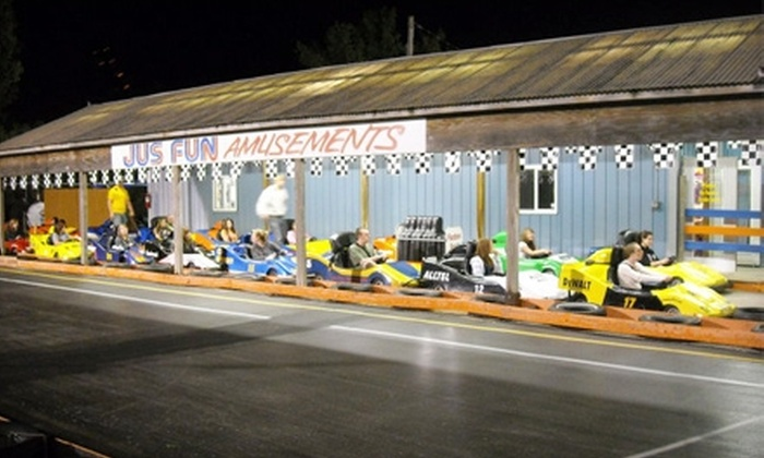 Jus-Fun Amusements - Villa Park: $12 for Two Go-Kart Rides and Two Rounds of Miniature Golf at Jus-Fun Amusements in Villa Park