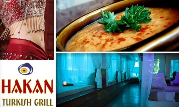 Hakan Turkish Grill - West Avenue: $75 for Turkish Meal, Open Bar, and Belly Dancing at Hakan Turkish Grill Plus VIP Transport and Drink at B.E.D. or Club Play ($180 Value)