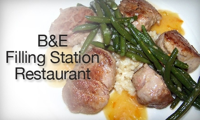 B&E Filling Station Restaurant - Palmer Lake: $25 for $50 Worth of Upscale American Cuisine and Drinks at B&E Filling Station Restaurant