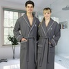 Linum Monogrammed Grey Waffle Terry Robe with White Piping
