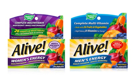 Alive! Men's or Women's Energy Multivitamin; 3-Pack of 50ct. Bottles + 5% Back in Groupon Bucks