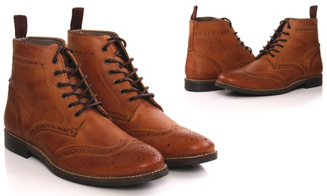 The Best Deal Guide - null:Men's Leather Lace-Up Ankle Boots