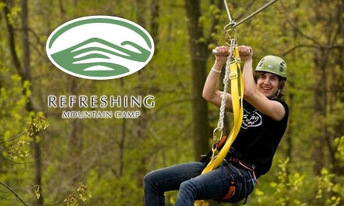 Refreshing Mountain Camp - Clay: $85 for a Three-Person Zip Line Canopy Tour at Refreshing Mountain Camp in Stevens ($175 Value)