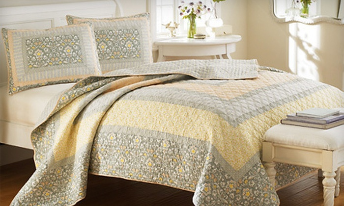 Up To 76 Off Laura Ashley Quilt And Shams Groupon