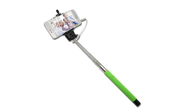 selfie stick with remote shutter groupon goods. Black Bedroom Furniture Sets. Home Design Ideas