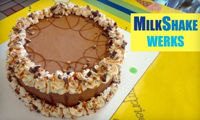 MilkShake Werks - Redwood Shores: $18 for Large Ice-Cream Cake ($35.99 Value) or $13 for Small Ice-Cream Cake ($26.99 Value) at MilkShake Werks in Redwood City