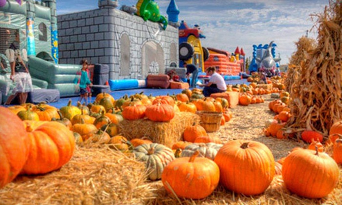 ABC Tree Farms - Multiple Locations: $30 for All-Day Inflatable Passes for Two and One Pumpkin at ABC Tree Farms (Up to $64 Value)