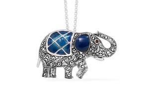 Blue Resin Elephant Pendant