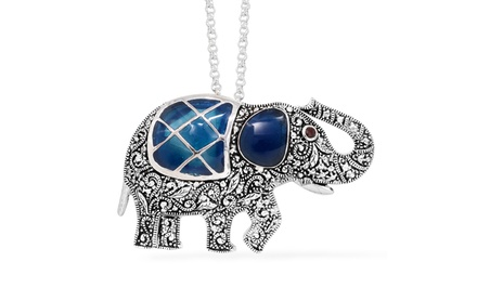 Blue Resin Elephant Pendant