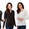 Emme Jordan Women's Thermal Long Sleeve V-Neck Solid Tops